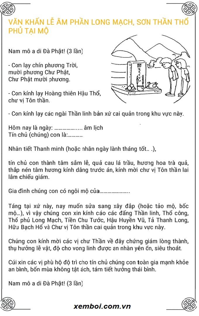 Văn khấn tảo mộ dịp Tết Thanh Minh
