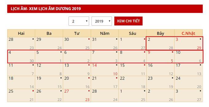Lịch nghỉ tết âm 2019 chính thức cho người lao động